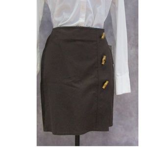 NEW Michael Kors Chocolate Brown Wrap Skirt Toggle